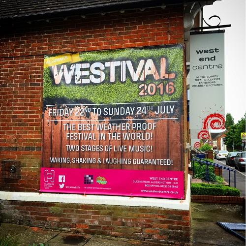 Westival 2.6m outdoor banner with hems and eyelets