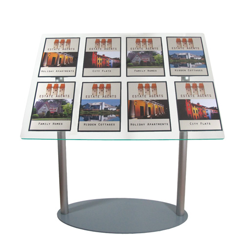 Lectern stand with removable A4 holders dressed as estate agent display