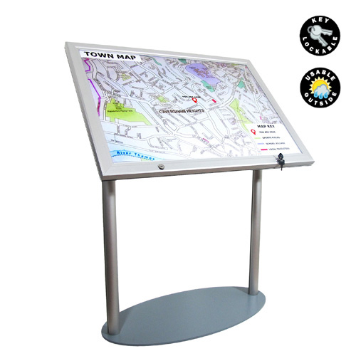 A1 lockable case on podium stand - frame shown with map
