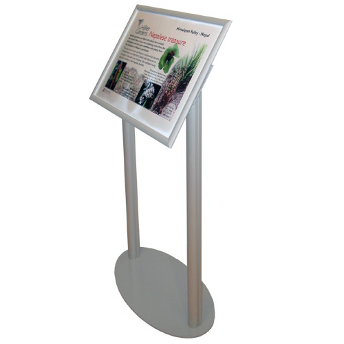 Snap frame angled stand with A2 museum poster