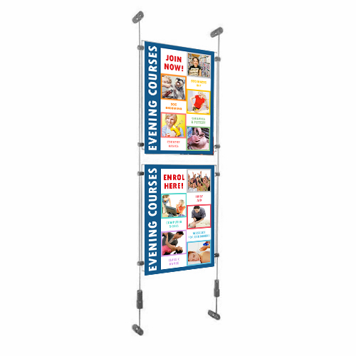 Wall-suspended acrylic poster holders on tensioned wires