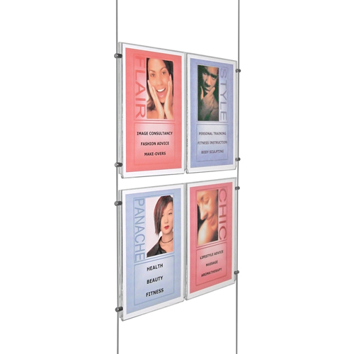 PS1B: Suspended poster holders - supported on wires [cables]