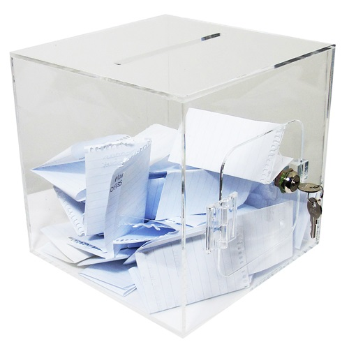 VT3: Suggestion boxes: acrylic cubes with slot and door