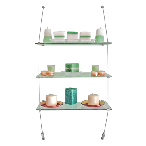 VW2: Wall mounted suspended glass shelves