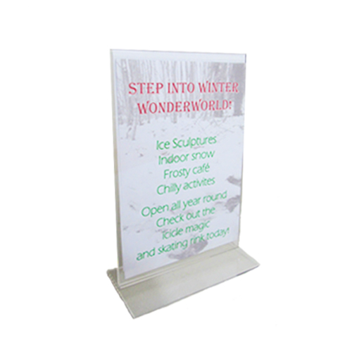 PT1A: Table-top acrylic ticket holder - double-sided