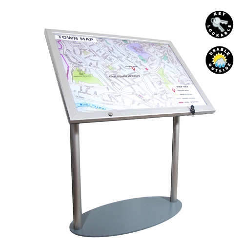 PF16B: Waterproof poster holder on lectern stand (two legs)