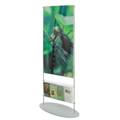 stand with printed panel and clamp on dispenser panel