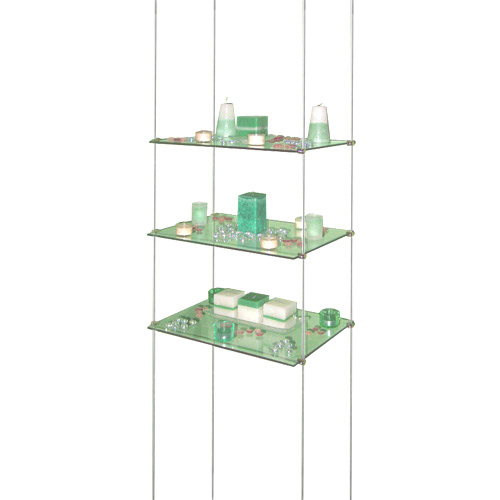 VS1: Suspended glass shelves - toughened glass