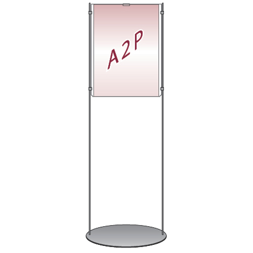 Floor stand with A2 portrait acrylic poster holder