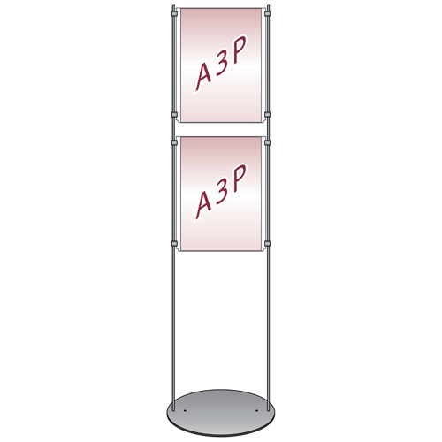 2x A3 portrait poster holders on floor stand